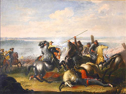 Battle of Warsaw 1656 - King Charles Gustav in skirmish with the Tatar troops of Subchan Gazi aga